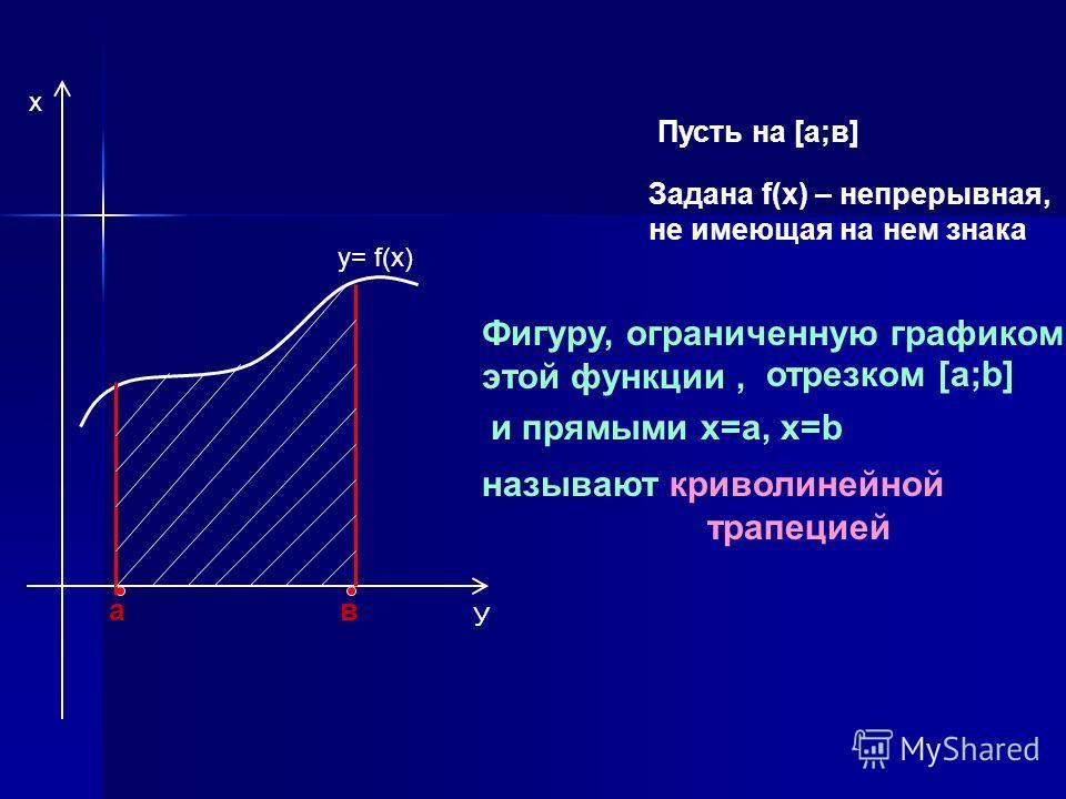 Пусть на [а;в] Задана f(х) – непрерывная, не имеющая на нем знака ав y= f(x) Фигуру, ограниченную графиком этой функции, отрезком [а;b] называют криволинейной трапецией и прямыми х=а, х=b х У