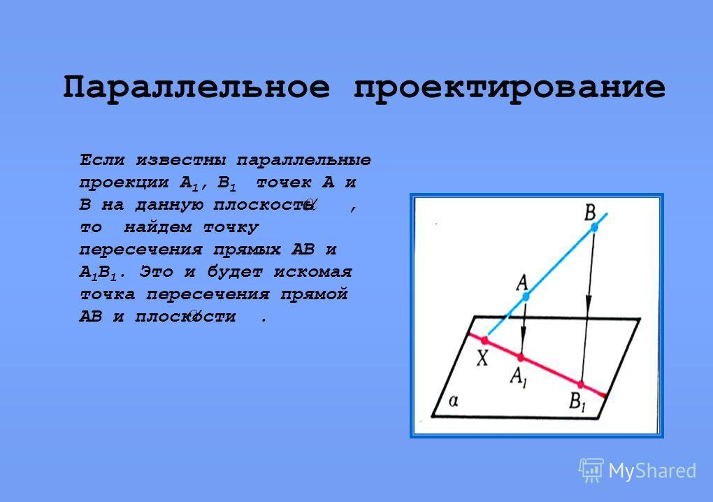 Параллельное проектирование Если известны параллельные проекции А 1, В 1 точек А и В на данную плоскость, то найдем точку пересечения прямых АВ и А 1 В 1. Это и будет искомая точка пересечения прямой АВ и плоскости.