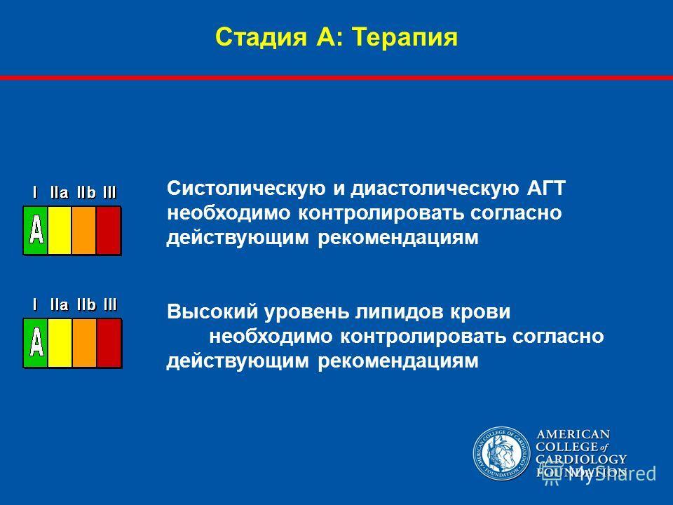 Стадия А: Терапия Систолическую и диастолическую АГТ необходимо контролировать согласно действующим рекомендациям Высокий уровень липидов крови необходимо контролировать согласно действующим рекомендациям