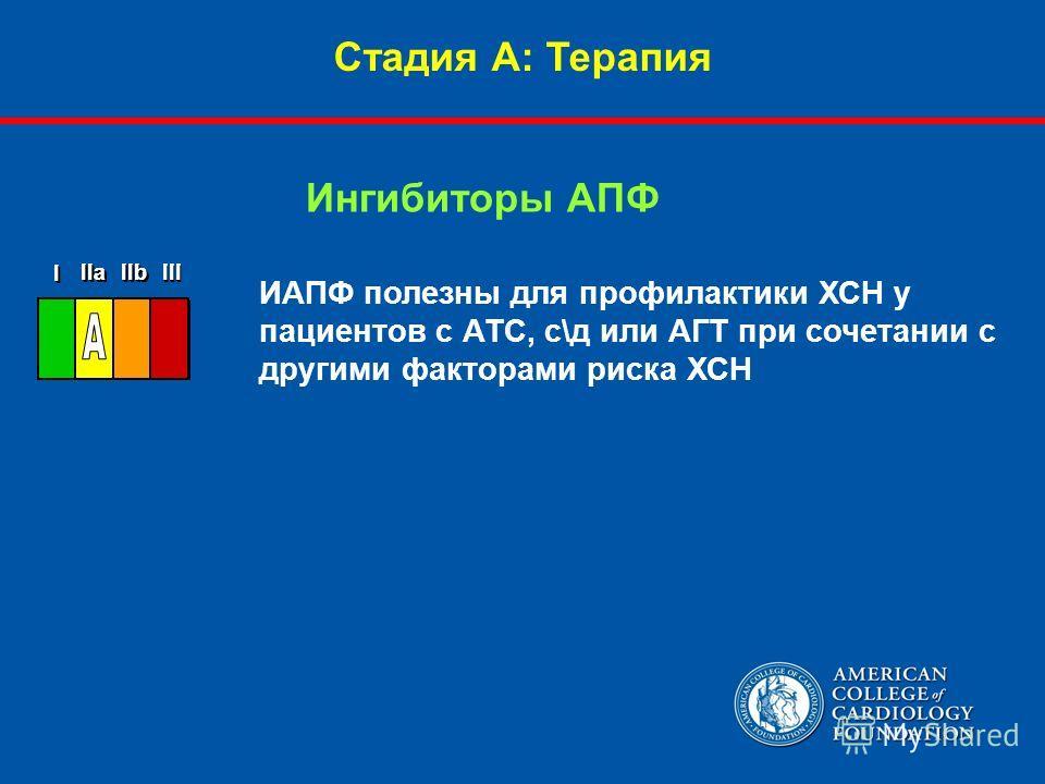 Стадия А: Терапия ИАПФ полезны для профилактики ХСН у пациентов с АТС, с\д или АГТ при сочетании с другими факторами риска ХСН Ингибиторы АПФ