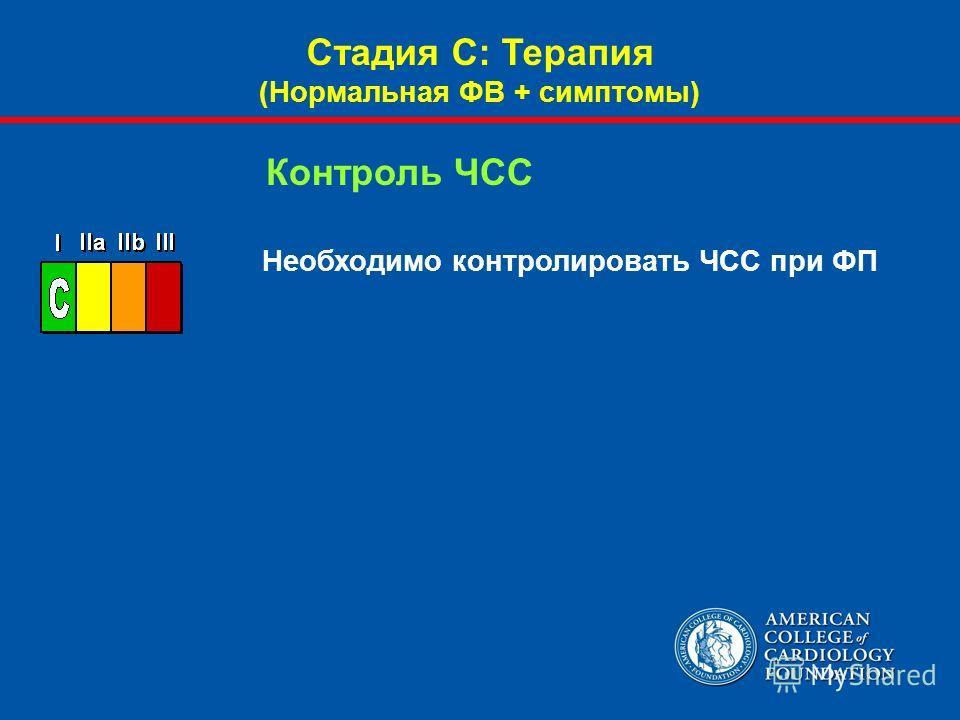 Необходимо контролировать ЧСС при ФП Контроль ЧСС Стадия С: Терапия (Нормальная ФВ + симптомы)