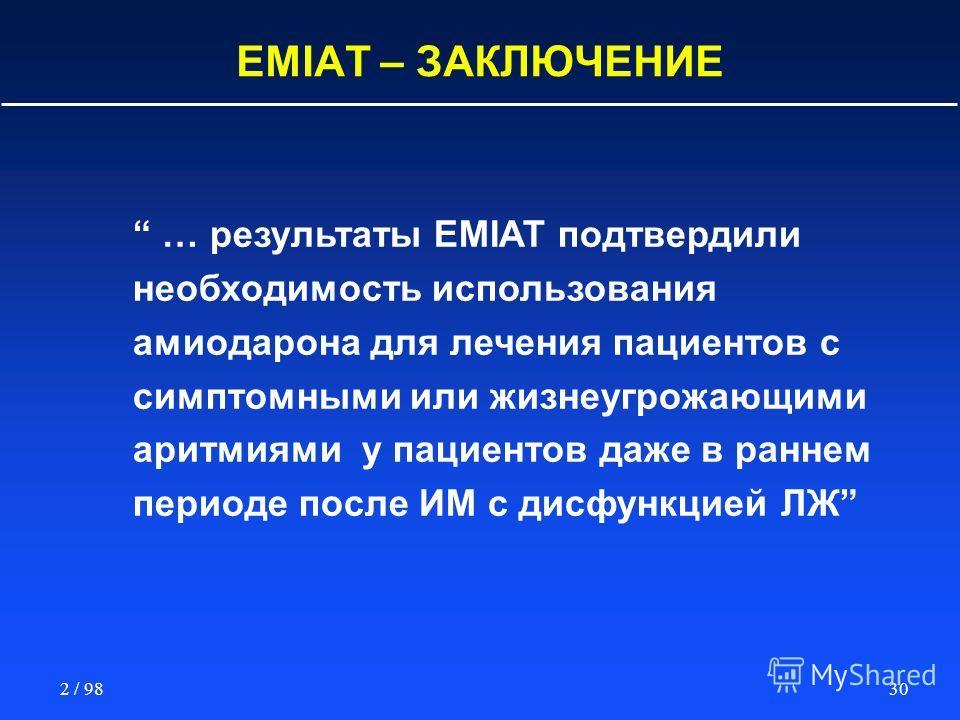 302 / 98 EMIAT – ЗАКЛЮЧЕНИЕ … результаты EMIAT подтвердили необходимость использования амиодарона для лечения пациентов с симптомными или жизнеугрожающими аритмиями у пациентов даже в раннем периоде после ИМ с дисфункцией ЛЖ