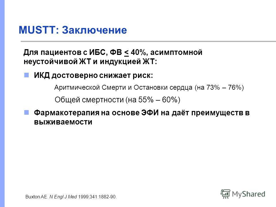 MUSTT: Заключение ИКД достоверно снижает риск: Аритмической Смерти и Остановки сердца (на 73% – 76%) Общей смертности (на 55% – 60%) Фармакотерапия на основе ЭФИ на даёт преимуществ в выживаемости Buxton AE. N Engl J Med 1999;341:1882-90. Для пациент