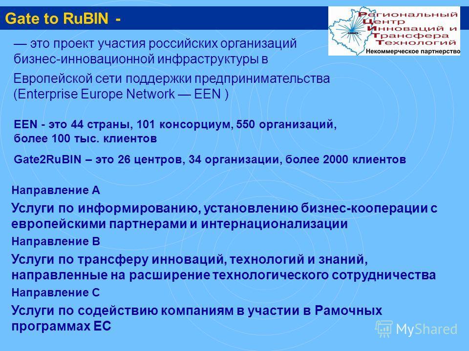 это проект участия российских организаций бизнес-инновационной инфраструктуры в Направление А Услуги по информированию, установлению бизнес-кооперации с европейскими партнерами и интернационализации Направление B Услуги по трансферу инноваций, технол