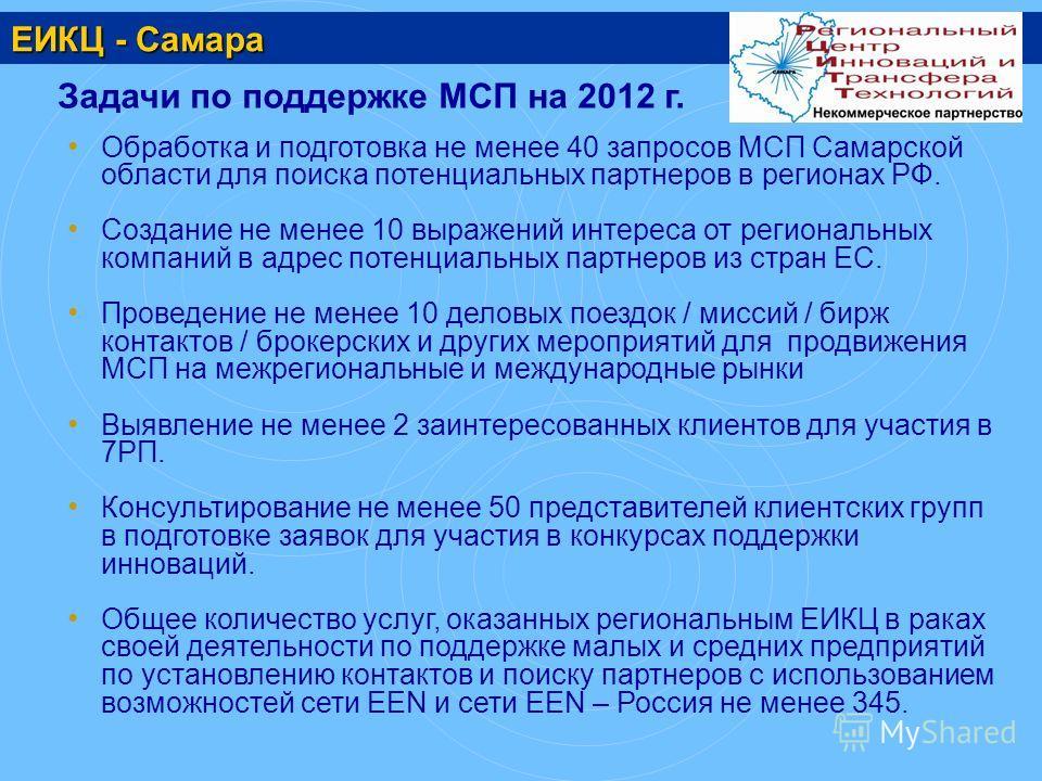 ЕИКЦ - Самара Задачи по поддержке МСП на 2012 г. Обработка и подготовка не менее 40 запросов МСП Самарской области для поиска потенциальных партнеров в регионах РФ. Создание не менее 10 выражений интереса от региональных компаний в адрес потенциальны