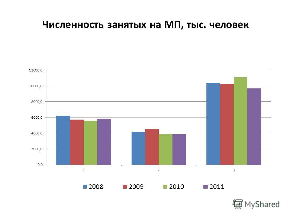 Численность занятых на МП, тыс. человек