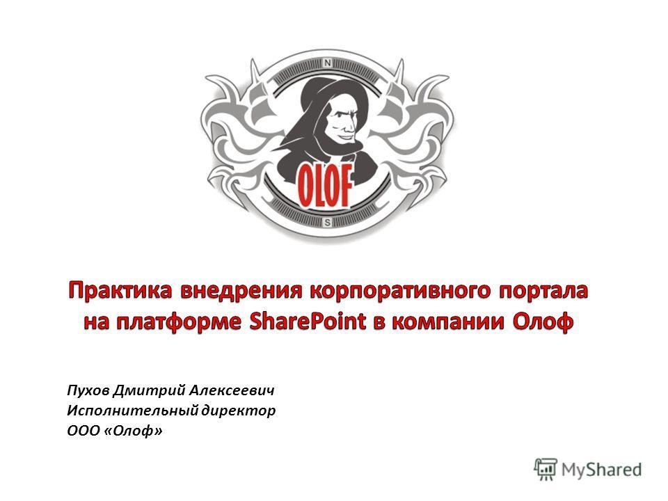 Пухов Дмитрий Алексеевич Исполнительный директор ООО «Олоф»