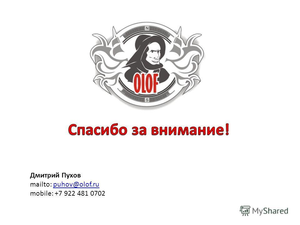 Дмитрий Пухов mailto: puhov@olof.rupuhov@olof.ru mobile: +7 922 481 0702