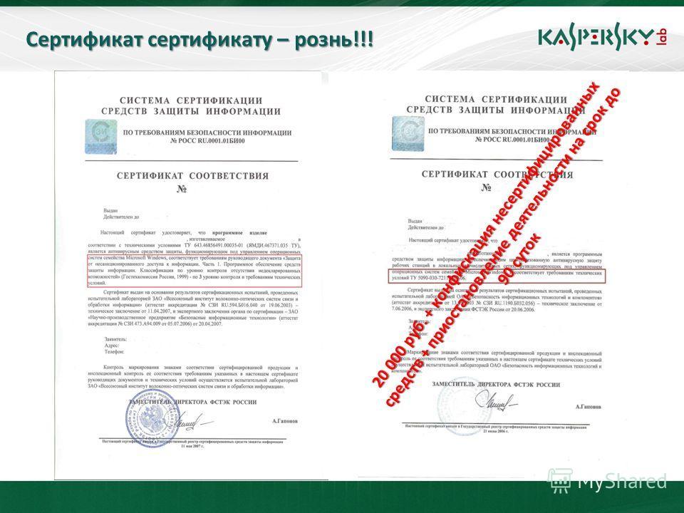 Сертификат сертификату – рознь!!! 20 000 руб. + конфискация несертифицированных средств + приостановление деятельности на срок до 90 суток