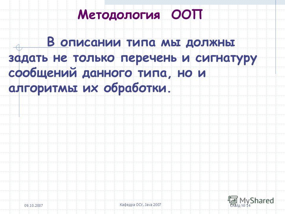 09.10.2007 Кафедра ОСУ, Java 2007 Слайд 14 Методология ООП В описании типа мы должны задать не только перечень и сигнатуру сообщений данного типа, но и алгоритмы их обработки.