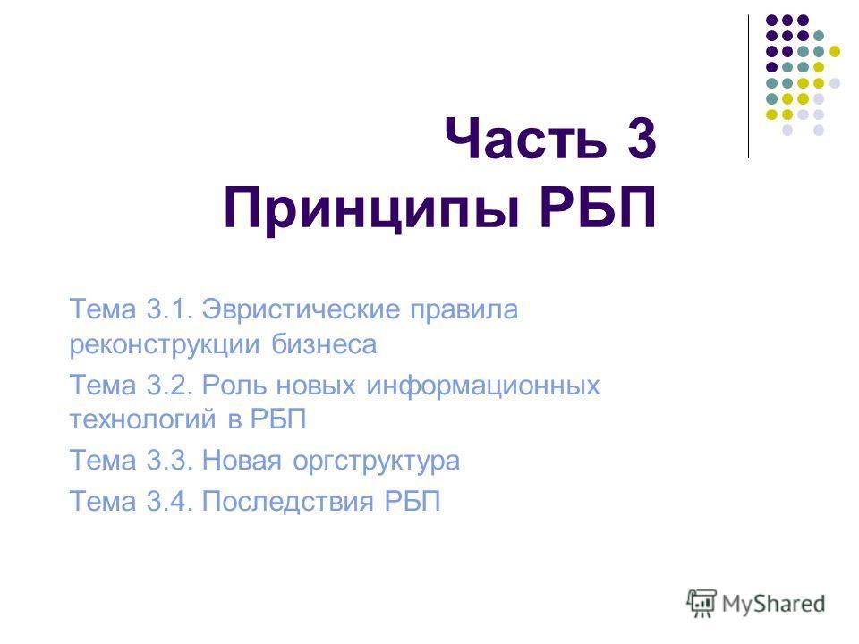 Часть 3 Принципы РБП Тема 3.1. Эвристические правила реконструкции бизнеса Тема 3.2. Роль новых информационных технологий в РБП Тема 3.3. Новая оргструктура Тема 3.4. Последствия РБП