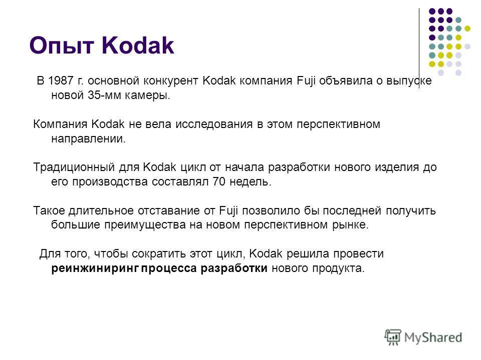 Опыт Kodak В 1987 г. основной конкурент Kodak компания Fuji объявила о выпуске новой 35-мм камеры. Компания Kodak не вела исследования в этом перспективном направлении. Традиционный для Kodak цикл от начала разработки нового изделия до его производст