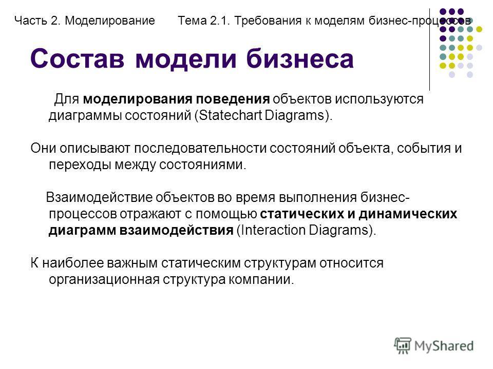 Состав модели бизнеса Часть 2. МоделированиеТема 2.1. Требования к моделям бизнес-процессов Для моделирования поведения объектов используются диаграммы состояний (Statechart Diagrams). Они описывают последовательности состояний объекта, события и пер