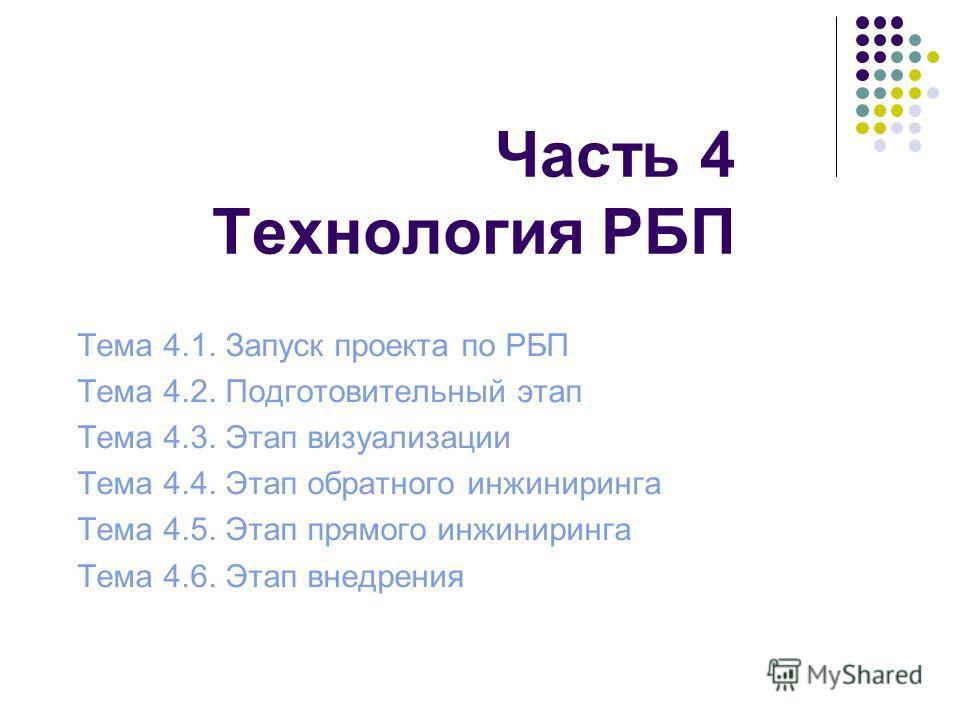 Часть 4 Технология РБП Тема 4.1. Запуск проекта по РБП Тема 4.2. Подготовительный этап Тема 4.3. Этап визуализации Тема 4.4. Этап обратного инжиниринга Тема 4.5. Этап прямого инжиниринга Тема 4.6. Этап внедрения