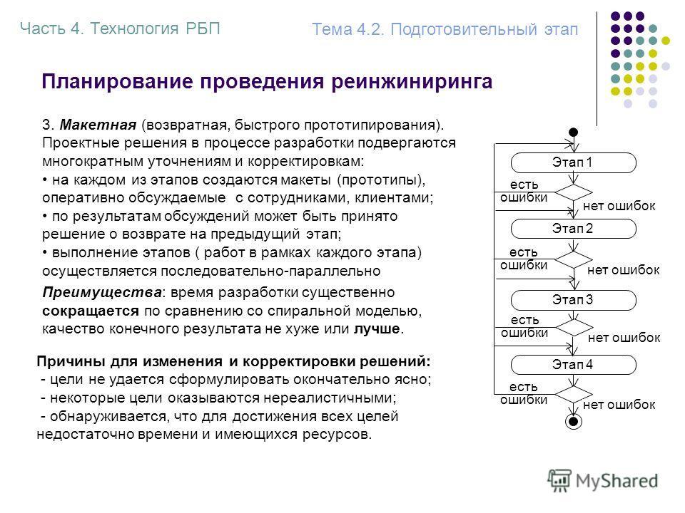 Планирование проведения реинжиниринга 3. Макетная (возвратная, быстрого прототипирования). Проектные решения в процессе разработки подвергаются многократным уточнениям и корректировкам: на каждом из этапов создаются макеты (прототипы), оперативно обс