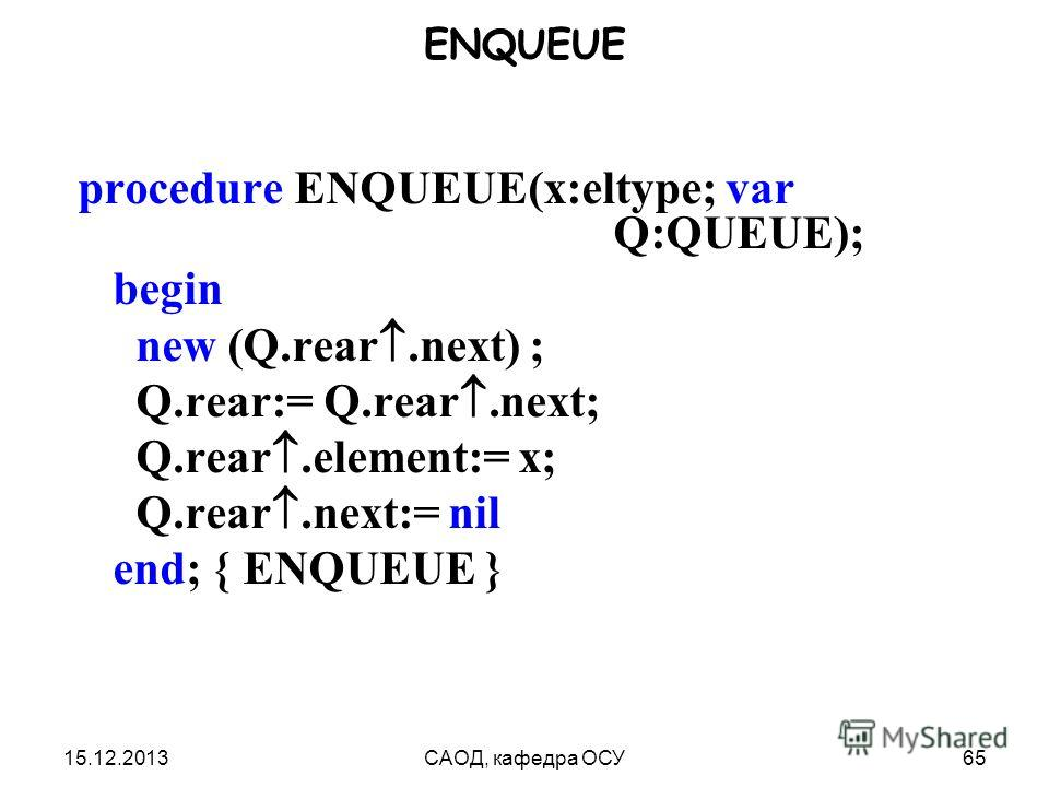 15.12.2013САОД, кафедра ОСУ65 ENQUEUE procedure ENQUEUE(x:eltype; var Q:QUEUE); begin new (Q.rear.next) ; Q.rear:= Q.rear.next; Q.rear.element:= x; Q.rear.next:= nil end; { ENQUEUE }