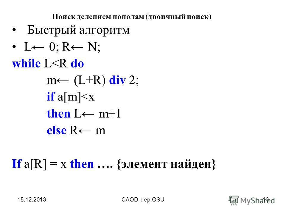 15.12.2013CAOD, dep.OSU13 Поиск делением пополам (двоичный поиск) Быстрый алгоритм L 0; R N; while L