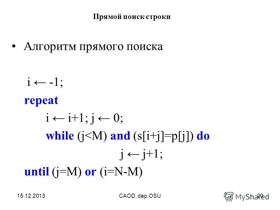15.12.2013CAOD, dep.OSU20 Прямой поиск строки Алгоритм прямого поиска i -1; repeat i i+1; j 0; while (j