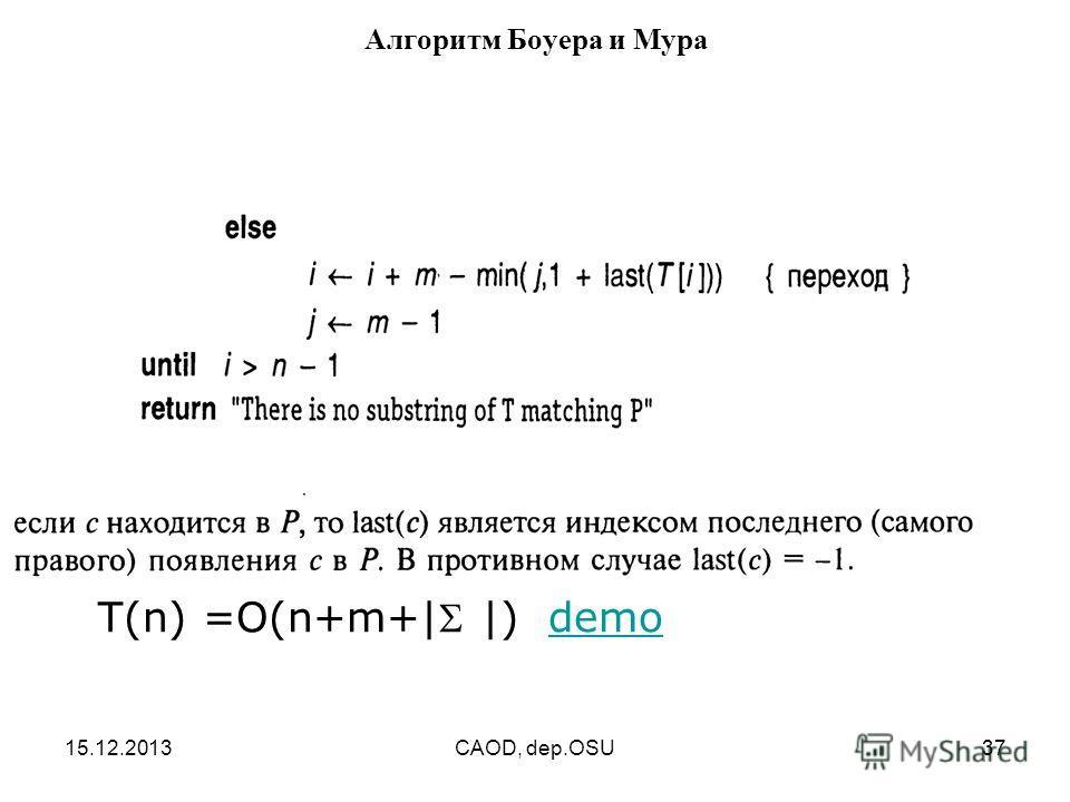 15.12.2013CAOD, dep.OSU37 Алгоритм Боуера и Мура T(n) =O(n+m+| |) demodemo