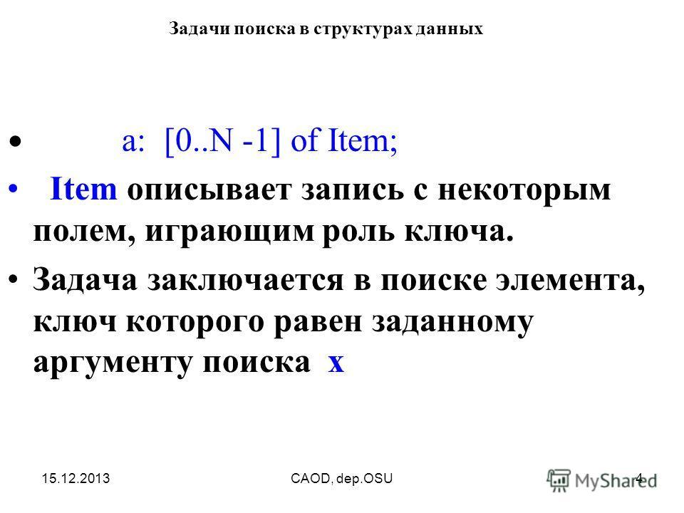 15.12.2013CAOD, dep.OSU4 Задачи поиска в структурах данных a: [0..N -1] of Item; Item описывает запись с некоторым полем, играющим роль ключа. Задача заключается в поиске элемента, ключ которого равен заданному аргументу поиска x