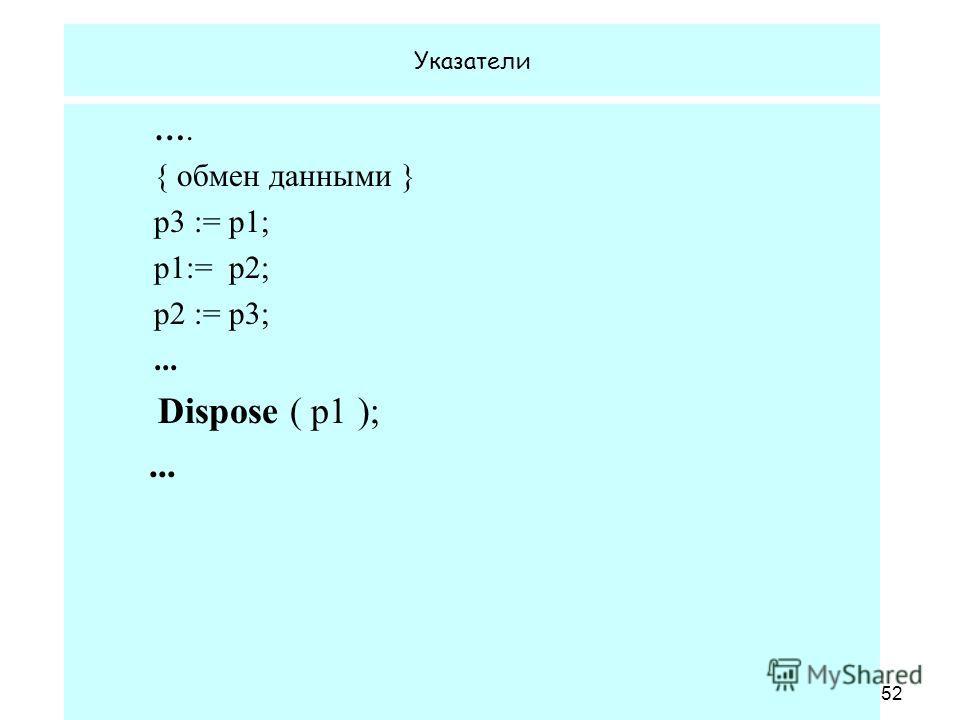 1.02.2008 Кафедра ОСУ52 Указатели …. { обмен данными } p3 := p1; p1:= p2; p2 := p3;... Dispose ( p1 );...