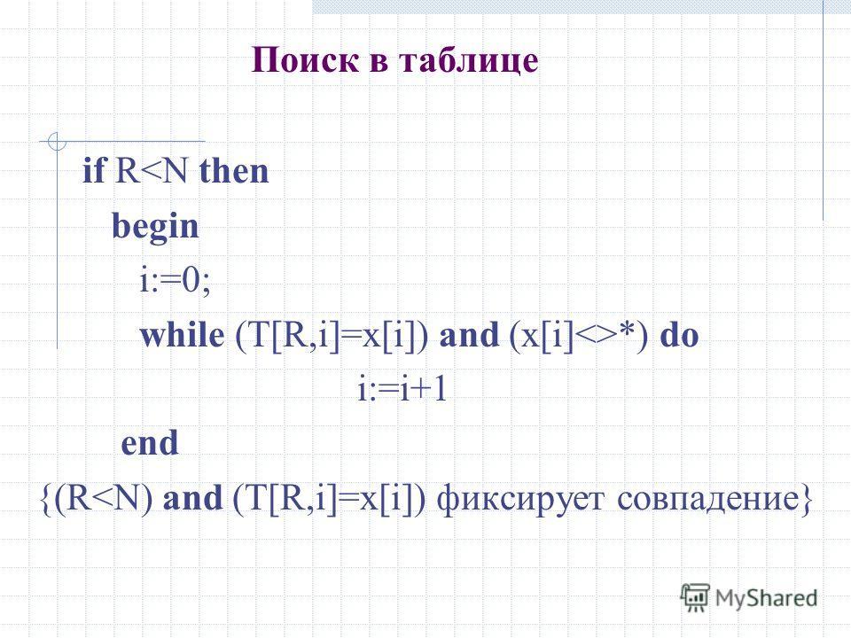 Поиск в таблице if R