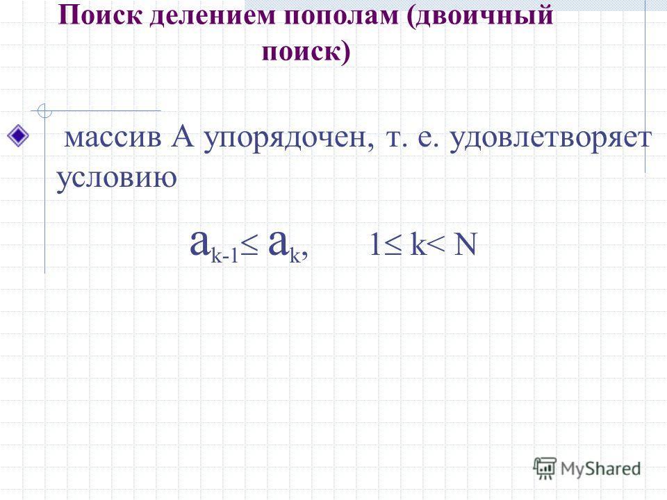 Поиск делением пополам (двоичный поиск) массив A упорядочен, т. е. удовлетворяет условию a k-1 a k, 1 k< N