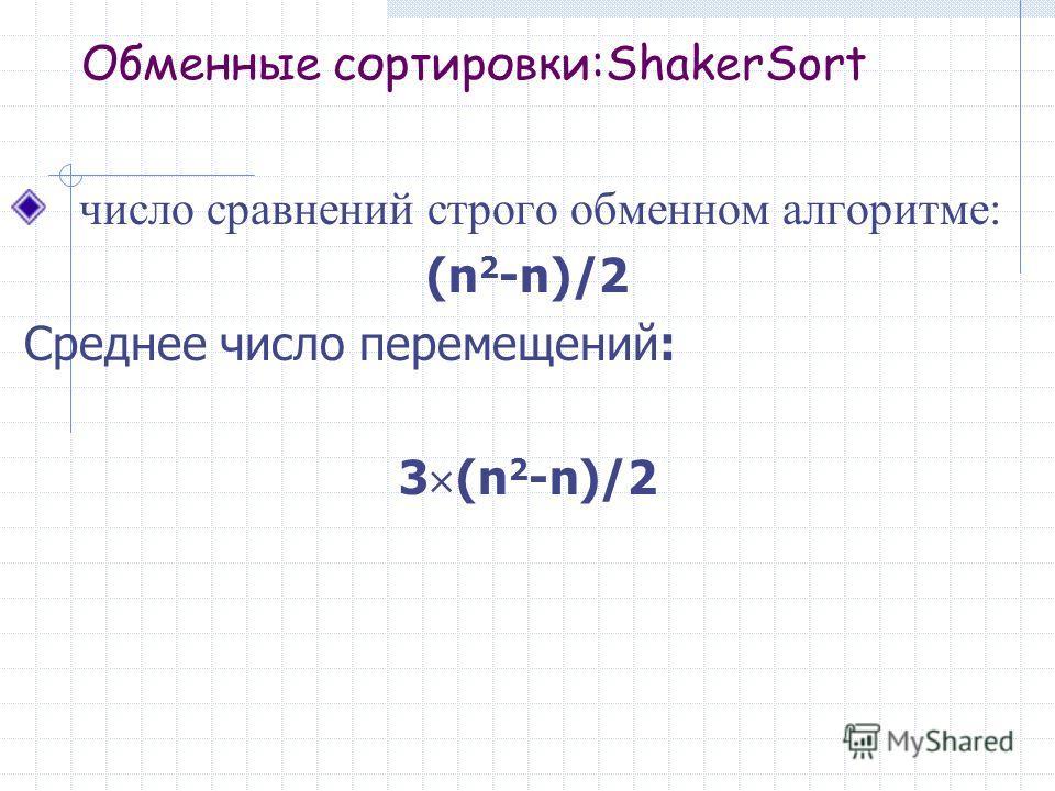 Обменные сортировки:ShakerSort число сравнений строго обменном алгоритме: (n 2 -n)/2 Среднее число перемещений: 3 (n 2 -n)/2