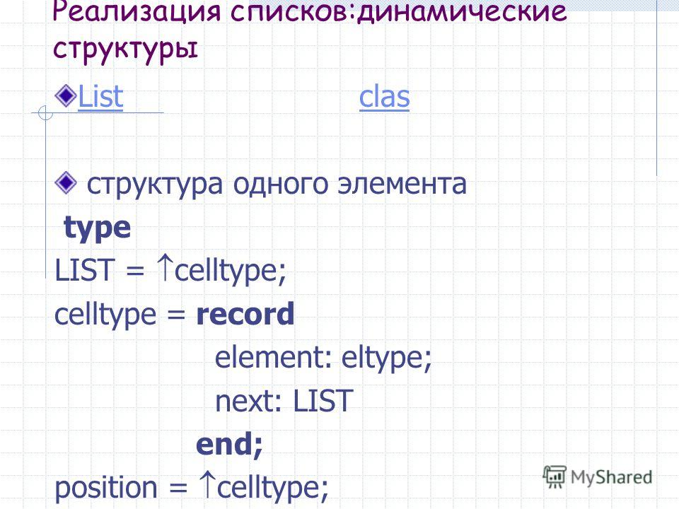 Реализация списков:динамические структуры ListList clasclas структура одного элемента type LIST = celltype; celltype = record element: eltype; next: LIST end; position = celltype;