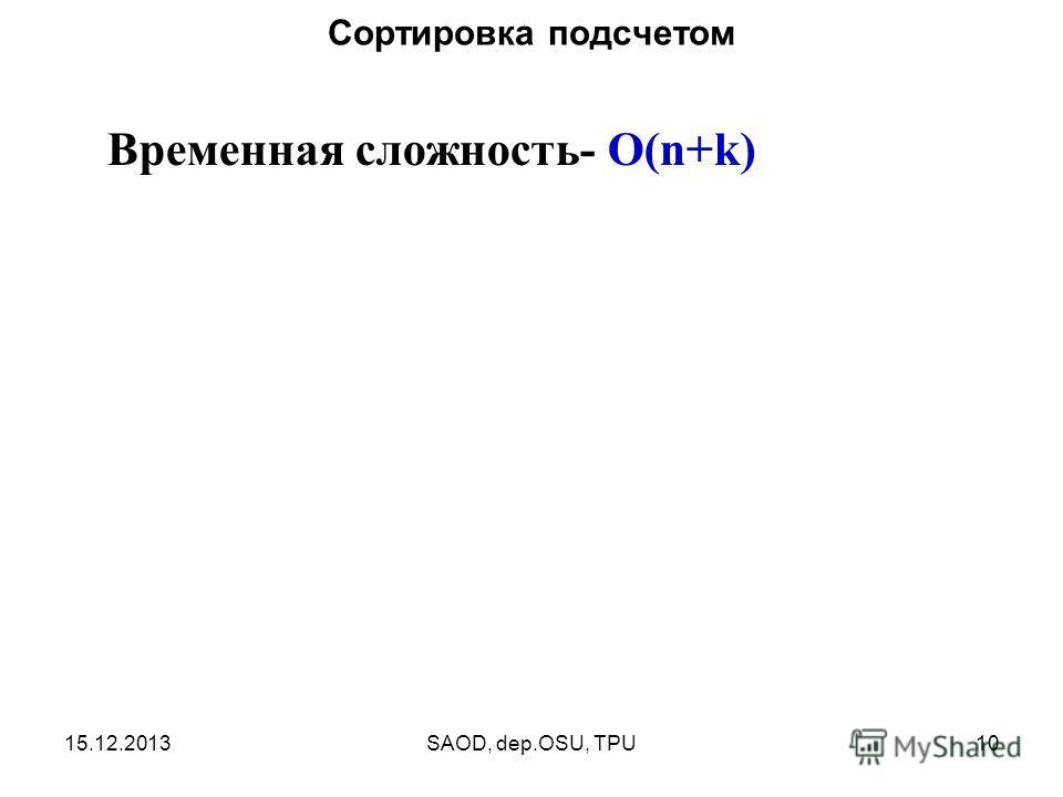 15.12.2013SAOD, dep.OSU, TPU10 Сортировка подсчетом Временная сложность- O(n+k)