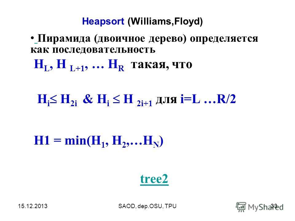 15.12.2013SAOD, dep.OSU, TPU33 Пирамида (двоичное дерево) определяется как последовательность H L, H L+1, … H R такая, что H i H 2i & H i H 2i+1 для i=L …R/2 H1 = min(H 1, H 2,…H N ) tree2 Heapsort (Williams,Floyd)