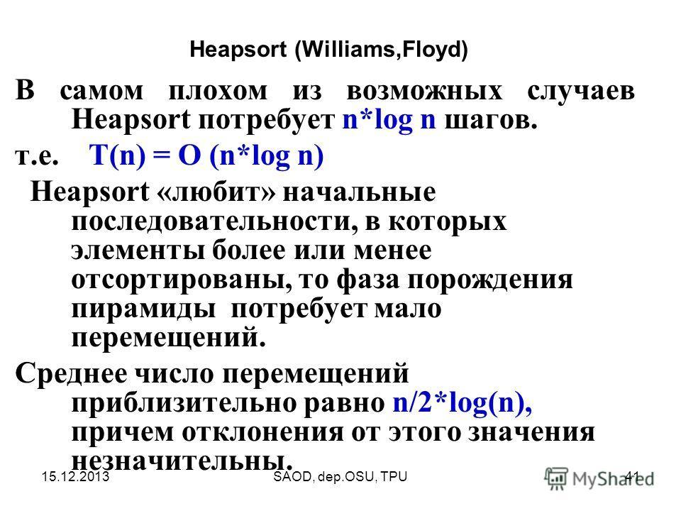 15.12.2013SAOD, dep.OSU, TPU41 В самом плохом из возможных случаев Heapsort потребует n*log n шагов. т.е. T(n) = O (n*log n) Heapsort «любит» начальные последовательности, в которых элементы более или менее отсортированы, то фаза порождения пирамиды