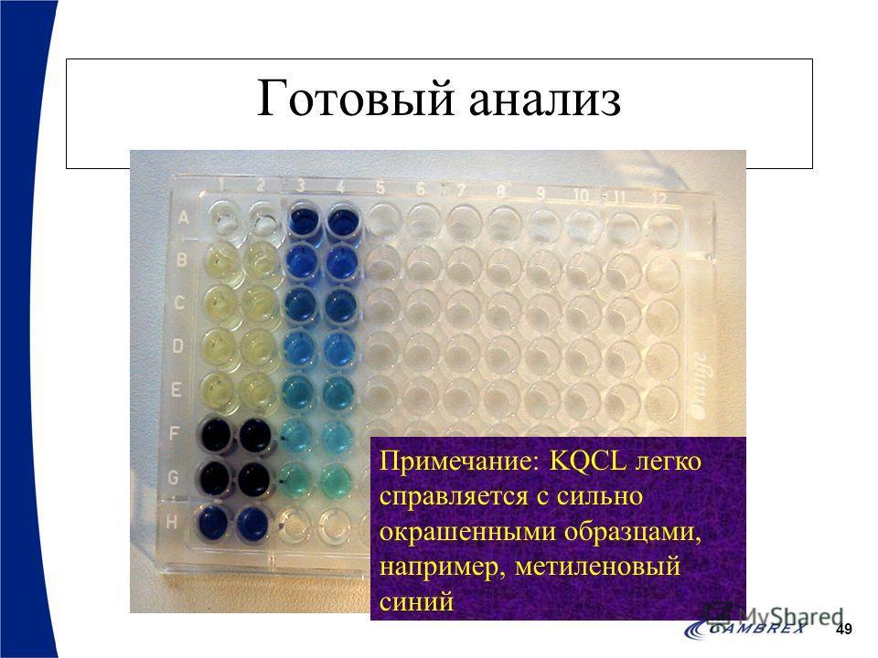49 Готовый анализ Примечание: KQCL легко справляется с сильно окрашенными образцами, например, метиленовый синий