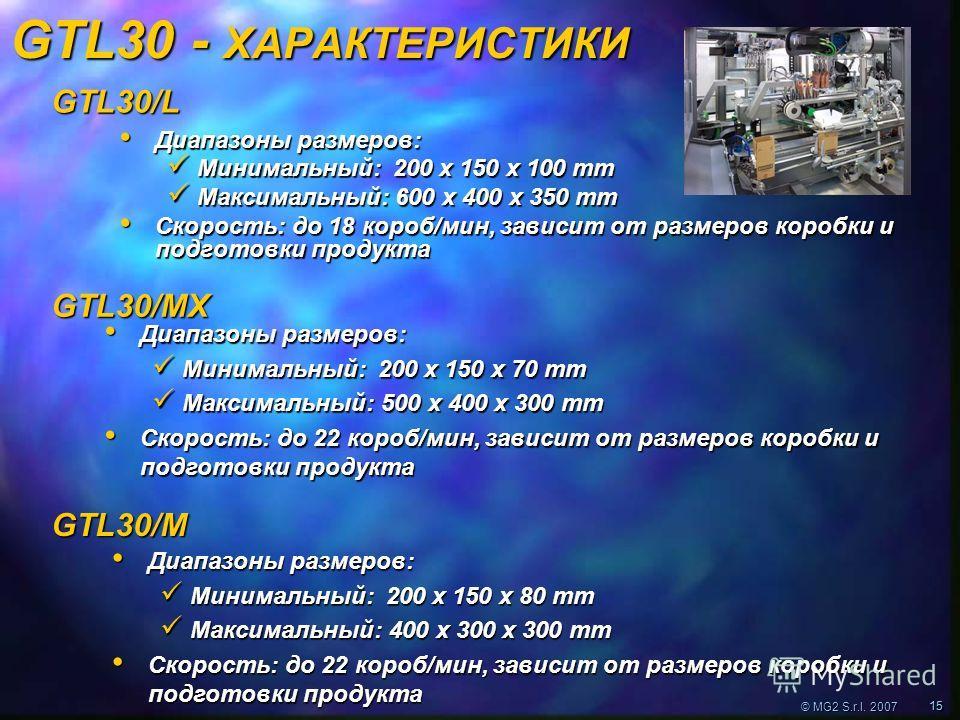 © MG2 S.r.l. 2007 1515 GTL30 - ХАРАКТЕРИСТИКИ Диапазоны размеров: Диапазоны размеров: Минимальный: 200 x 150 x 100 mm Минимальный: 200 x 150 x 100 mm Максимальный: 600 x 400 x 350 mm Максимальный: 600 x 400 x 350 mm Скорость: до 18 короб/мин, зависит