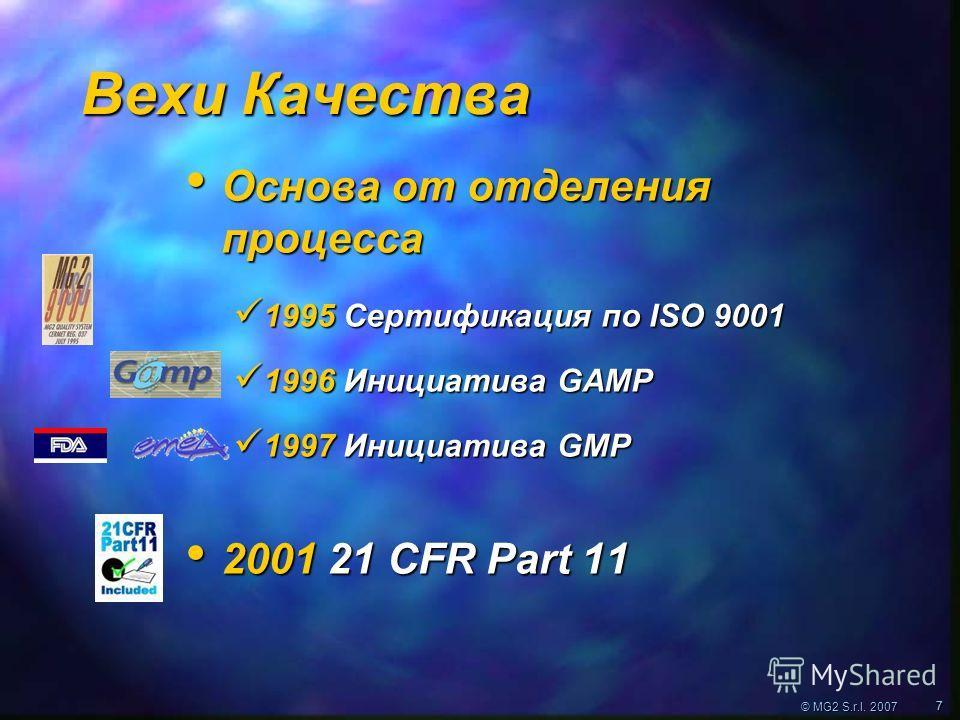 © MG2 S.r.l. 2007 77 Вехи Качества Основа от отделения процесса Основа от отделения процесса 1995 Сертификация по ISO 9001 1995 Сертификация по ISO 9001 1996 Инициатива GAMP 1996 Инициатива GAMP 1997 Инициатива GMP 1997 Инициатива GMP 2001 21 CFR Par