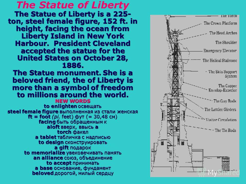 The Statue of Liberty is a 225- ton, steel female figure, 152 ft. in height, facing the ocean from Liberty Island in New York Harbour. President Cleveland accepted the statue for the United States on October 28, 1886. The Statue monument. She is a be