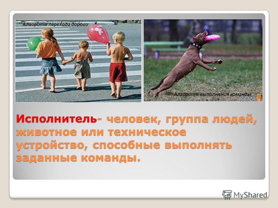 Исполнитель- человек, группа людей, животное или техническое устройство, способные выполнять заданные команды.
