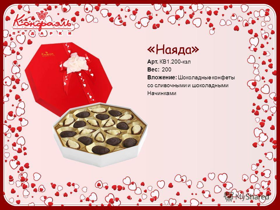 « Наяда » Арт. КВ1.200-кзл Вес: 200 Вложение: Шоколадные конфеты cо сливочными и шоколадными Начинками