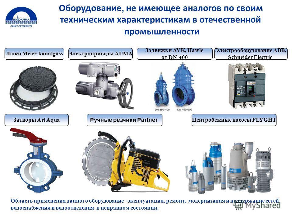 Оборудование, не имеющее аналогов по своим техническим характеристикам в отечественной промышленности Люки Meier kanalgussЭлектроприводы AUMA Электрооборудование ABB, Schneider Electric Задвижки AVK, Hawle от DN-400 Затворы Ari Aqua Ручные резчики Pa