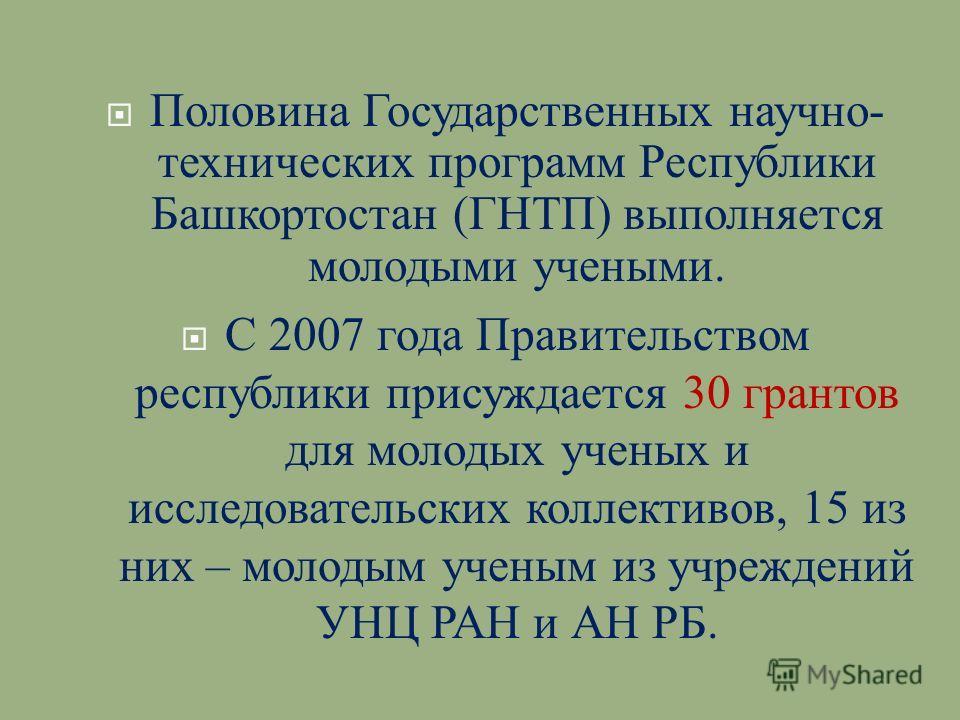 Половина Государственных научно - технических программ Республики Башкортостан ( ГНТП ) выполняется молодыми учеными. С 2007 года Правительством республики присуждается 30 грантов для молодых ученых и исследовательских коллективов, 15 из них – молоды