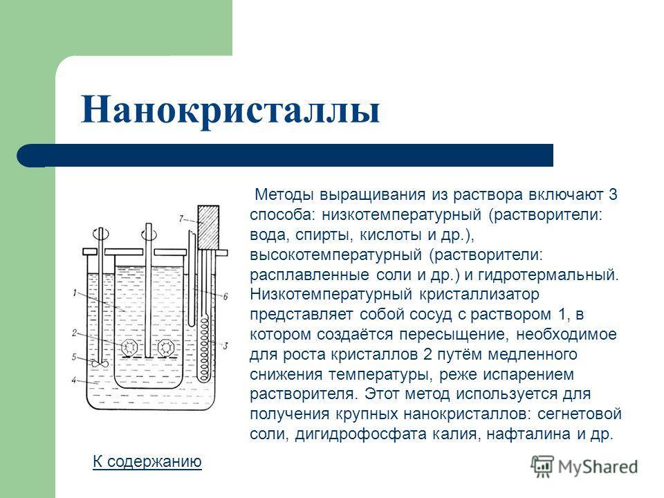 Нанокристаллы К содержанию Методы выращивания из раствора включают 3 способа: низкотемпературный (растворители: вода, спирты, кислоты и др.), высокотемпературный (растворители: расплавленные соли и др.) и гидротермальный. Низкотемпературный кристалли