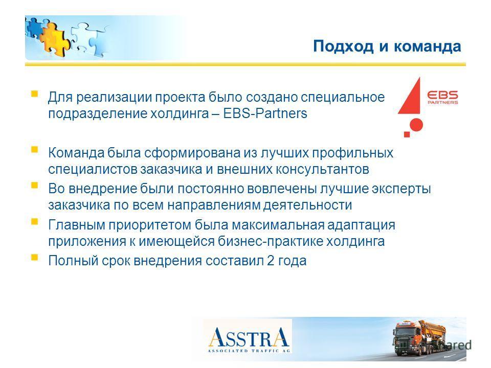 Для реализации проекта было создано специальное подразделение холдинга – EBS-Partners Команда была сформирована из лучших профильных специалистов заказчика и внешних консультантов Во внедрение были постоянно вовлечены лучшие эксперты заказчика по все