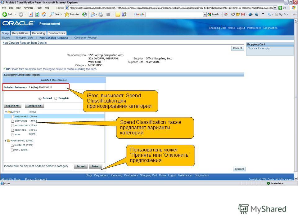 iProc вызывает Spend Classification для прогнозирования категории Spend Classification также предлагает варианты категорий Пользователь можетПринять или Отклонить предложения