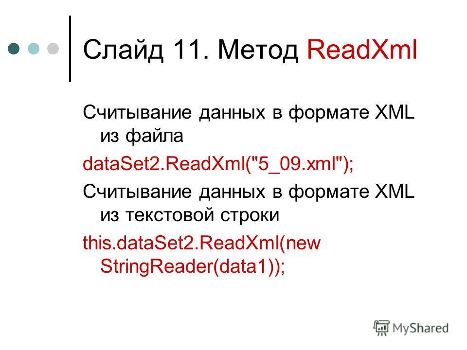 Слайд 11. Метод ReadXml Считывание данных в формате XML из файла dataSet2.ReadXml(5_09.xml); Считывание данных в формате XML из текстовой строки this.dataSet2.ReadXml(new StringReader(data1));