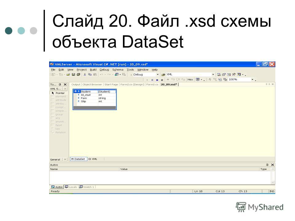 Слайд 20. Файл.xsd схемы объекта DataSet