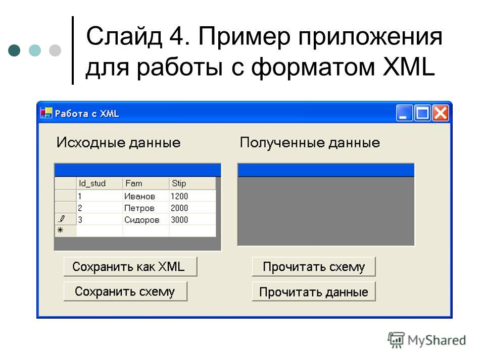 Слайд 4. Пример приложения для работы с форматом XML