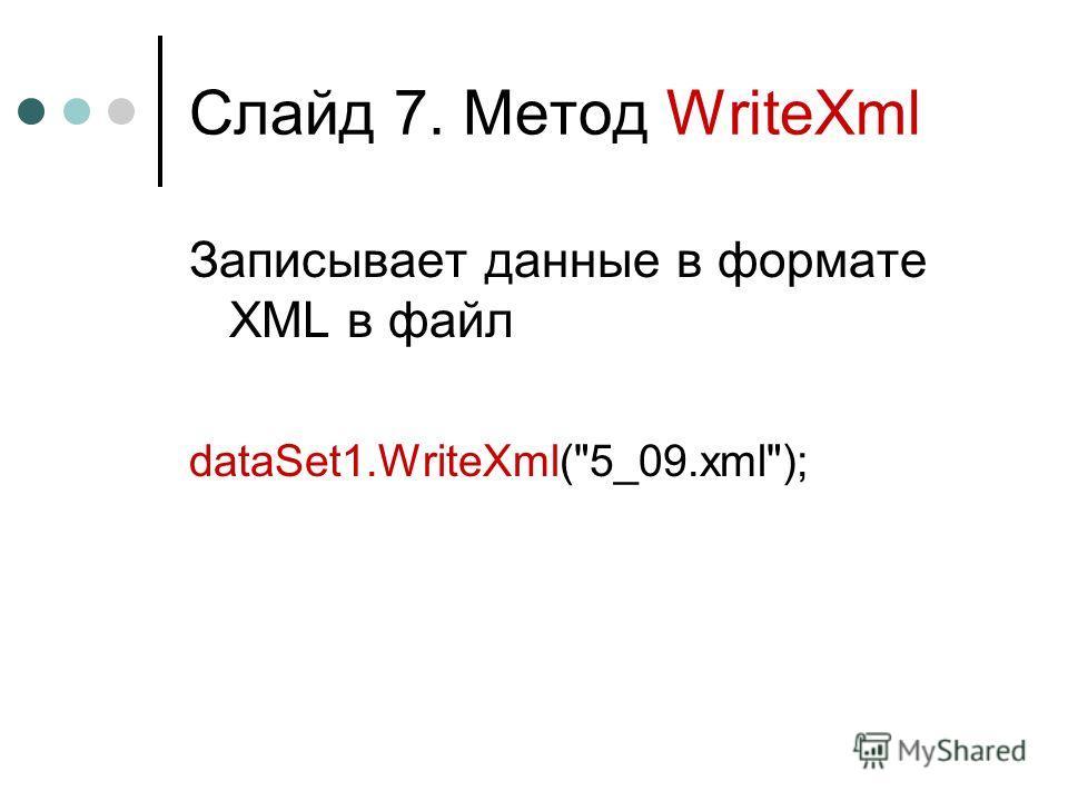 Слайд 7. Метод WriteXml Записывает данные в формате XML в файл dataSet1.WriteXml(5_09.xml);