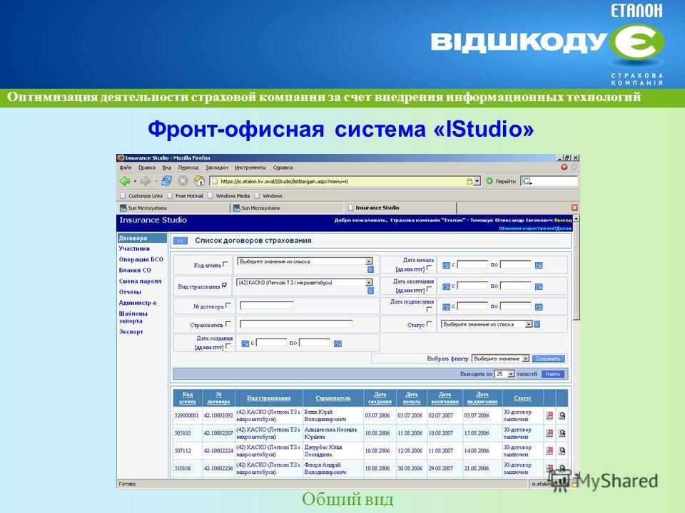 Оптимизация деятельности страховой компании за счет внедрения информационных технологий Фронт-офисная система «ІStudіo» Общий вид