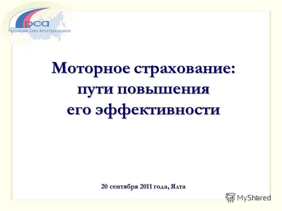 Моторное страхование: пути повышения его эффективности 20 сентября 2011 года, Ялта 1