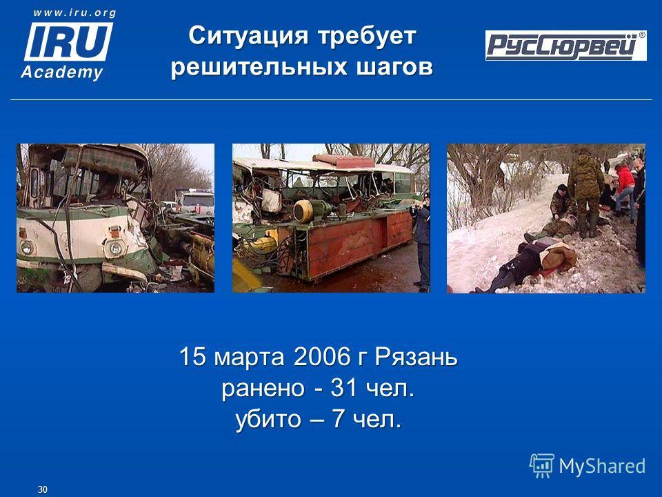 15 марта 2006 г Рязань ранено - 31 чел. убито – 7 чел. 30 Ситуация требует решительных шагов